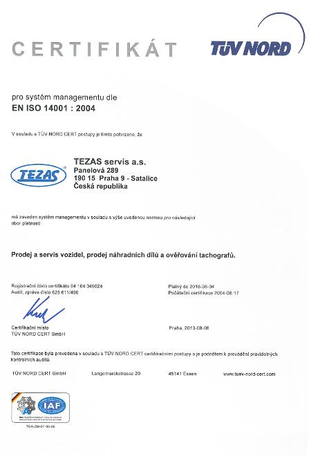 Certifikát EN ISO 14001 : 2004