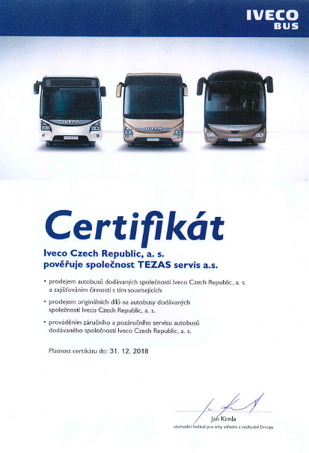 Certifikát dealera IVECO Bus