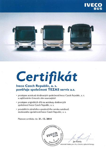 Certifikát dealera IVECO Bus