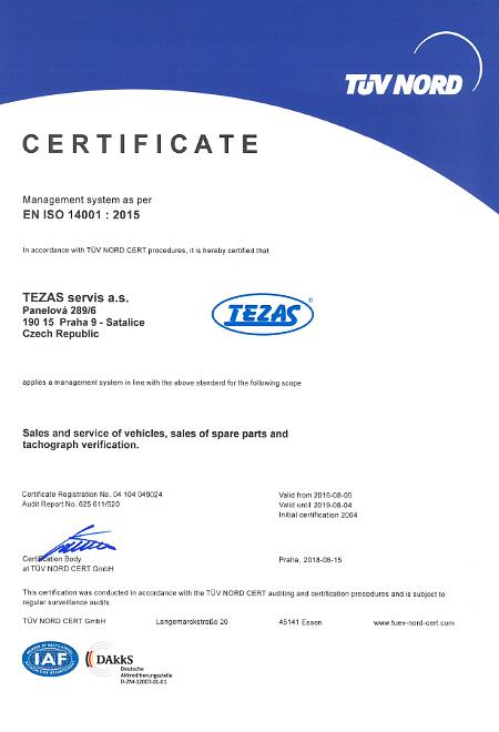 Certificate EN ISO 14001 : 2015