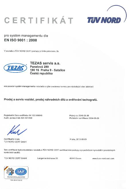 Certifikát EN ISO 9001 : 2008