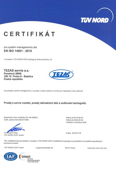 Certifikát EN ISO 14001 : 2015