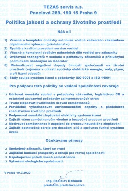 Politika jakosti TEZAS servis a.s.